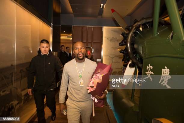 Former boxer Floyd Mayweather Jr arrives at a hotel on December 4 2017 in Shanghai China