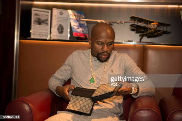 Former boxer Floyd Mayweather Jr receives an interview on December 4 2017 in Shanghai China