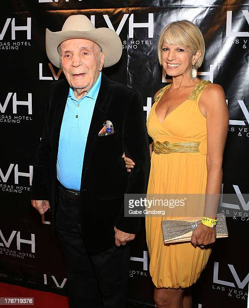 Former boxer Jake The Raging Bull LaMotta and fiancee Denise Baker arrive at the Night of the Champion event to honor former boxer Leon Spinks hosted...