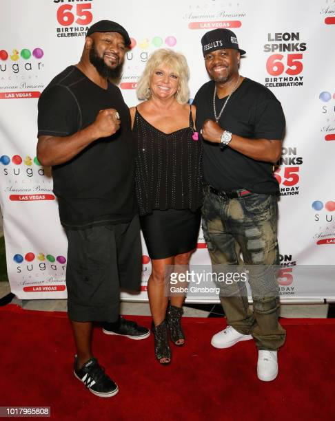 Former boxer Lamon Brewster Brenda GlurSpinks and attorney Rick Jones attend a birthday celebration for Leon Spinks' at the Chocolate Lounge at Sugar...