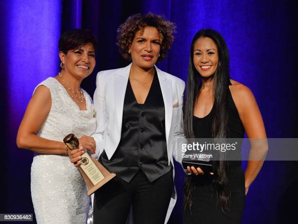 Former boxer Laura Serrano inductee Lucia Rijker and boxer Ana Julaton pose for a photo at the fifth annual Nevada Boxing Hall of Fame induction gala...
