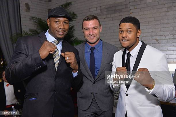 Former Boxer Lennox Lewis actor Liev Schreiber and actor Pooch Hall at The Bleeder TIFF party hosted by GREY GOOSE Vodka at Storys Building on...