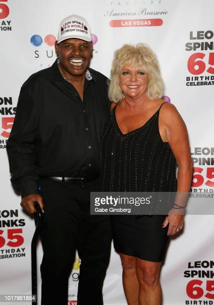 Former boxer Leon Spinks and his wife Brenda GlurSpinks attend a birthday celebration for Leon Spinks' at the Chocolate Lounge at Sugar Factory...