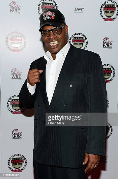 Former boxer Leon Spinks arrives at the Nevada Boxing Hall of Fame inaugural induction gala at the Monte Carlo Resort and Casino on August 10 2013 in...
