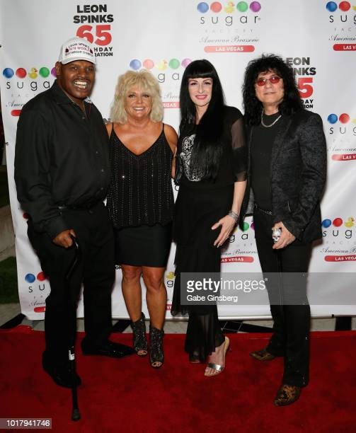 Former boxer Leon Spinks his wife Brenda GlurSpinks Carman Shortino and her husband singer Paul Shortino attend a birthday celebration for Leon...