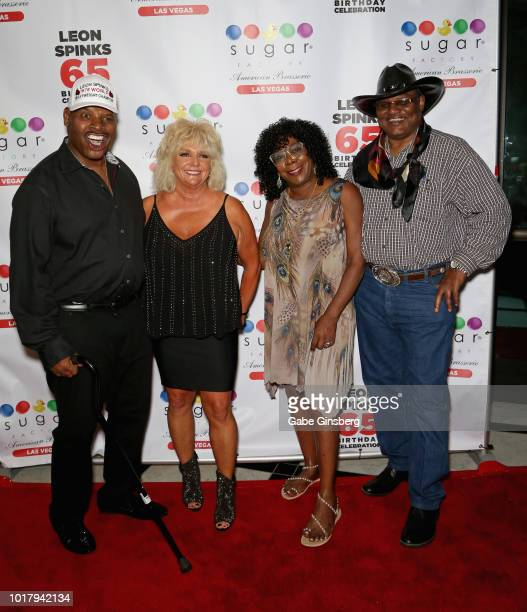 Former boxer Leon Spinks his wife Brenda GlurSpinks Vanessa WilliamsTillis and her husband former boxer James Quick Tillis attend a birthday...