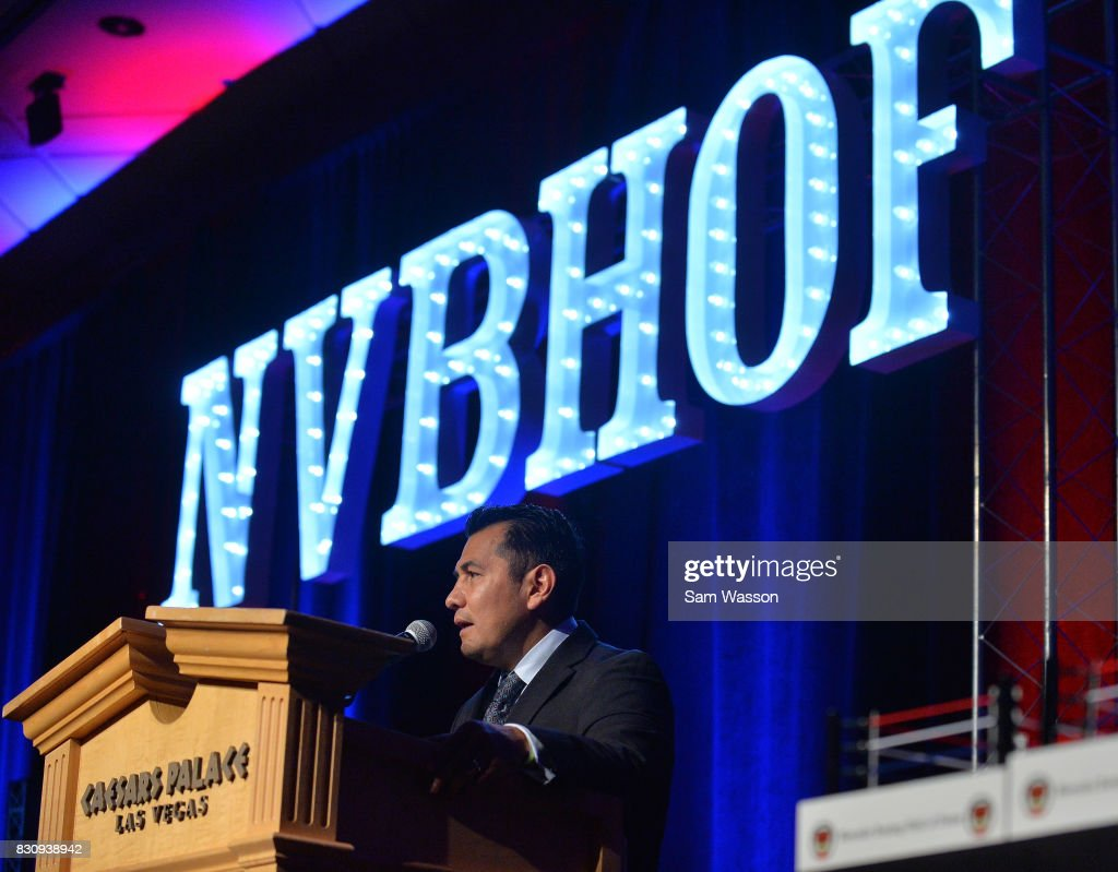 Former boxer Marco Antonio Barrera introduces former boxer Erik Morales as he is inducted into the Nevada Boxing Hall of Fame at the fifth annual induction gala at Caesars Palace on August 12, 2017 in Las Vegas, Nevada.