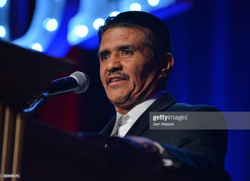 Former boxer Michael Carbajal speaks as he is inducted into the Nevada Boxing Hall of Fame at the fifth annual induction gala at Caesars Palace on August 12, 2017 in Las Vegas, Nevada.