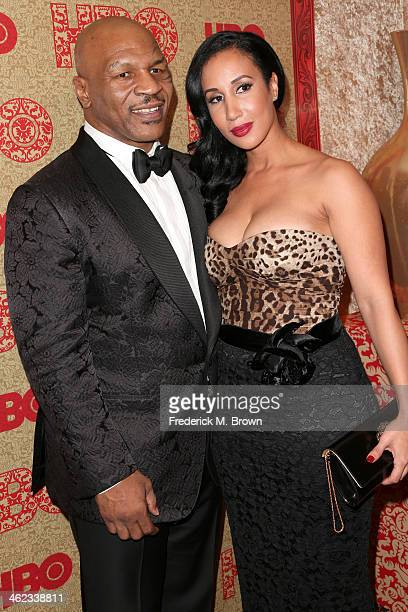 Former boxer Mike Tyson and Lakiha Spicer attends HBO's Post 2014 Golden Globe Awards Party held at Circa 55 Restaurant on January 12 2014 in Los...