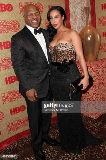 Former boxer Mike Tyson and Lakiha Spicer attends HBO's Post 2014 Golden Globe Awards Party held at Circa 55 Restaurant on January 12, 2014 in Los...