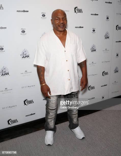 Former boxer Mike Tyson attends the Vegas Cares benefit at The Venetian Las Vegas honoring victims and first responders of last month's mass shooting...