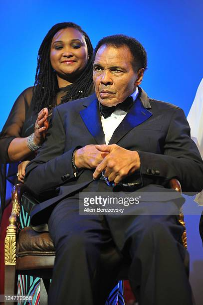 Former Boxer Mohammad Ali and daughter Maryum Ali attend the 4th Annual Life Changing Lives Gala Honoring Muhammad Ali at City National Grove of...