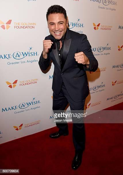 Former boxer Oscar Dela Hoya attends MakeAWish Greater Los Angeles Honoring Oscar De La Hoya Michael Rosenfeld And Tom Mone at its Annual Wishing...