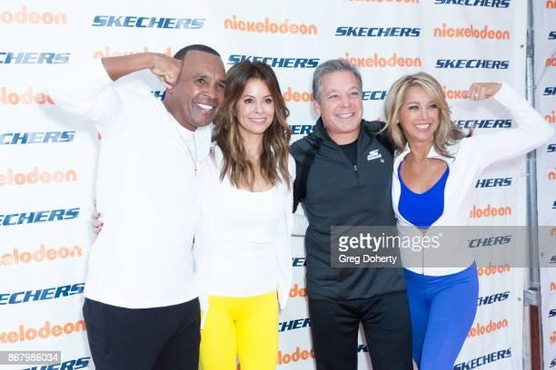 Former Boxer Sugar Ray Leonard Actress Brooke BurkeCharvet Skecher's President Michael Greenberg and Fitness Enthusiast Denise Austin attend the...