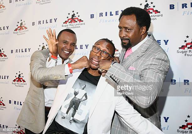 Former Boxer Sugar Ray Leonard Comedian Tommy Davidson and Former Boxer Thomas Hearns attend B Riley Co And Sugar Ray Leonard Foundation's 6th Annual...