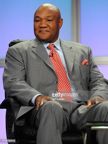 Former Boxing Champion George Foreman of 'Family Foreman' speaks during the 2008 Summer Television Critics Association Press Tour for MTVN held at...