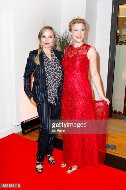 Former boxing champion Regina Halmich and German actress Eva Habermann attend the German Boxing Awards 2017 on October 8 2017 in Hamburg Germany