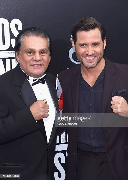 Former boxing champion Roberto Duran and actor Edgar Ramirez attend the 'Hands Of Stone' US premiere at SVA Theater on August 22 2016 in New York City