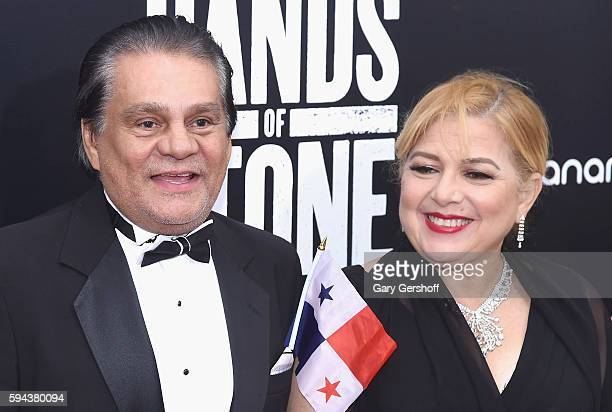 Former boxing champion Roberto Duran and wife Felicidad Duran attend the Hands Of Stone US premiere at SVA Theater on August 22 2016 in New York City