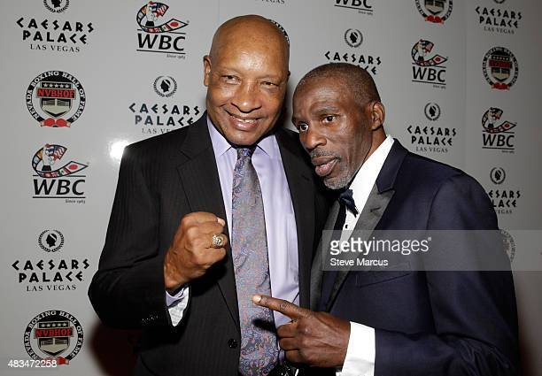 Former boxing referee Richard Steele and boxing trainer Roger Mayweather attend the third annual Nevada Boxing Hall of Fame induction gala at Caesars...