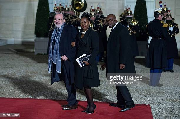 Former boxing World ChampionJeanMarc Mormeck and guests arrive at Elysee Palace as French President Francois Hollande receives the Cuban President...