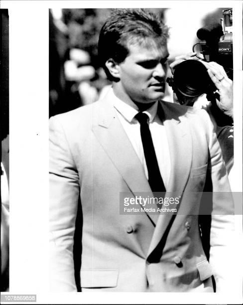 Former boyfriend of SallyAnne Huckstepp Const Peter Smith leaving Glebe coroners court today January 20 1987