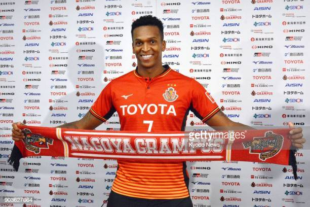 Former Brazil and Manchester City striker Jo is introduced by his new club Nagoya Grampus during a press conference at Chubu airport in Japan's Aichi...