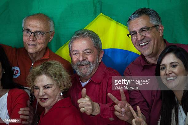 Former Brazil President Luiz Inacio Lula da Silva gestures after voting during the first round of presidential elections on October 5, 2014 in Sao...