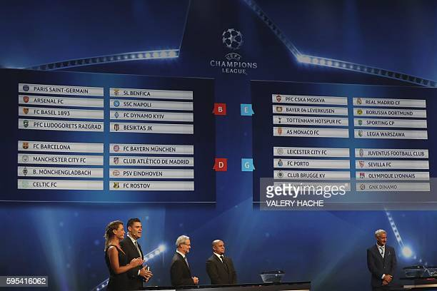 Former Brazilian football player Roberto Carlos and Liverpool football legend Ian Rush stand under the draw for the groups A B C D E F G and H is...