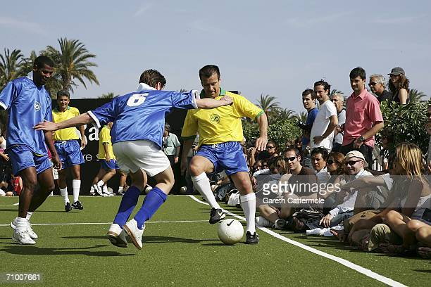 Former Brazilian footballer Dunga in action during a 5-a-side celebrity football tournament promoting the documentary 'Pure Spirit of Brasil' at...