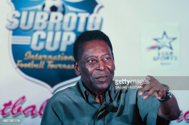 Former Brazilian footballer Pele addresses a press conference in New Delhi on October 15 2015 Pele is on a twoday visit to the city and will be the...