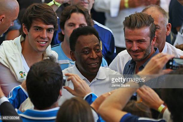 Former Brazilian international Kaka former Brazilian international Pele and former England international David Beckham look on prior to the 2014 FIFA...