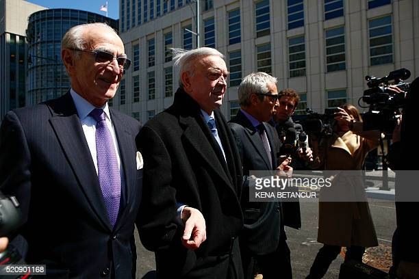 Former Brazilian national football federation president José Maria Marin leaves the Court of the eastern district in Brooklyn New York on April 13...