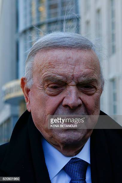 Former Brazilian national football federation president Jos�� Maria Marin leaves the Court of the eastern district in Brooklyn New York on April 13...