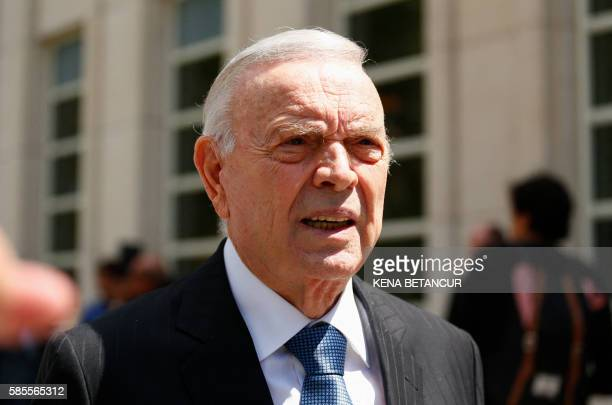Former Brazilian national football federation president Jose Maria Marin leaves the Court of the Eastern District in Brooklyn New York on August 3...