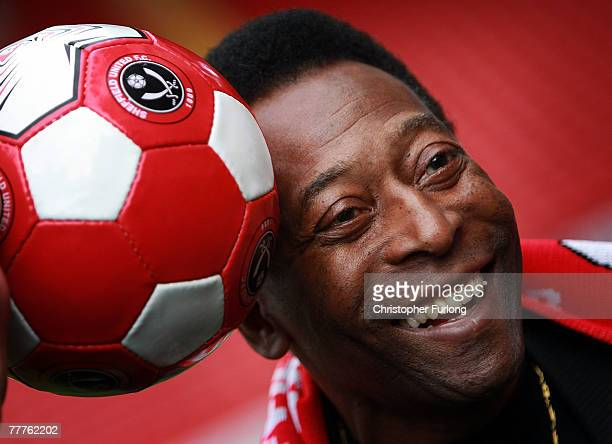 Former Brazilian national footballer Pele attends a photocall at Sheffield United FC's Bramhall Lane stadium on November 7 2007 in Sheffield England...