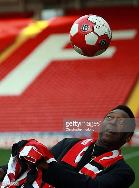 Former Brazilian national footballer Pele demonstrates his ball skills on the pitch at Sheffield United FC's Bramhall Lane stadium on November 7 2007...