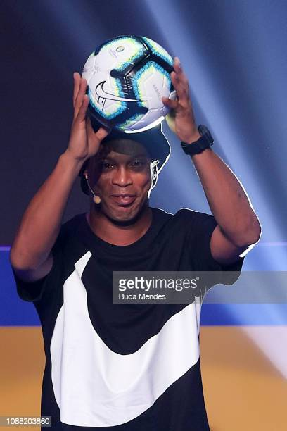Former Brazilian National Team player Ronaldinho Gaucho presents the Copa America ball Rabisco during the Copa America 2019 Official Draw at Cidade...