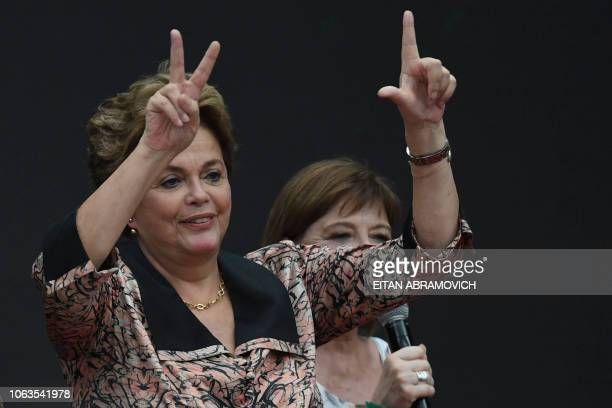 Former Brazilian president Dilma Rousseff gestures during the First World Critical Thinking Forum in Buenos Aires on November 19 2018 The Forum is an...