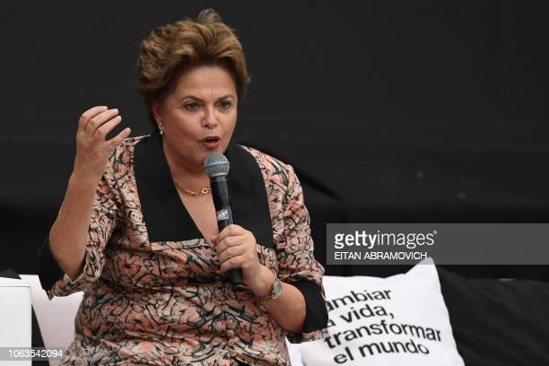 Former Brazilian president Dilma Rousseff speaks during the First World Critical Thinking Forum in Buenos Aires on November 19 2018 The Forum is an...