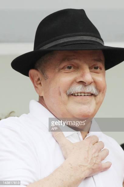 Former Brazilian President Luis Inacio Lula da Silva gestures during the inauguration of an education center in Sao Bernardo do Campo, Sao Paulo,...