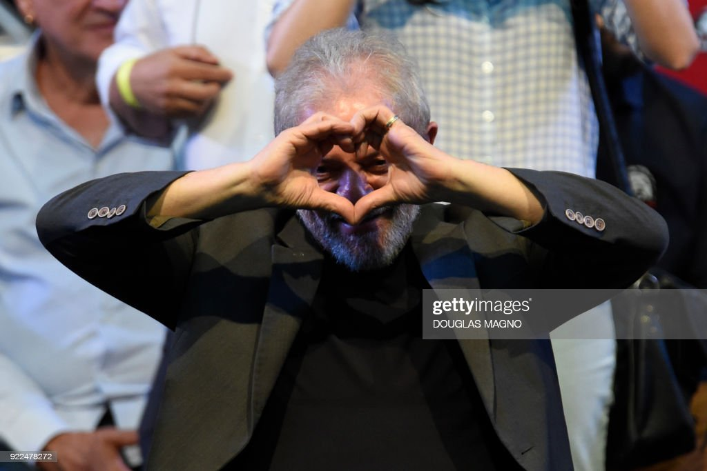 Former Brazilian president Luiz Inacio Lula da Silva gestures during the launch of his pre-candidacy for the presidency, at the Expominas in Belo Horizonte, capital of Minas Gerais, Brazil, on Febr...