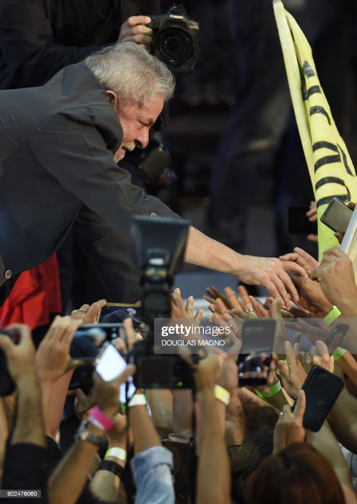 Former Brazilian president Luiz Inacio Lula da Silva launches his pre-candidacy for the presidency, at the Expominas in Belo Horizonte, capital of Minas Gerais, Brazil, on February 21, 2018. The capital of Minas Gerais is the first to host an event of this kind since Lula's conviction for corruption was upheld by a federal appeals court. /