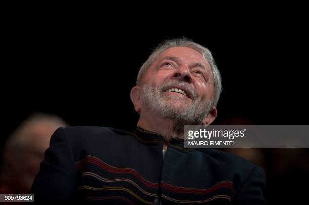 Former Brazilian president Luiz Inacio Lula da Silva reacts during a meeting with artists at Oi Casa Grande Theater in Rio de Janeiro Brazil on...