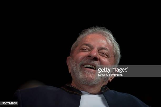 Former Brazilian president Luiz Inacio Lula da Silva reacts during a meeting with intellectuals at Oi Casa Grande Theater in Rio de Janeiro Brazil on...