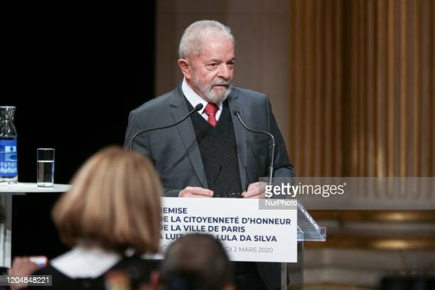 Former Brazilian president Luiz Inacio Lula da Silva speaks during a ceremony at the City Hall of Paris on March 2 during wich he was named honorary...