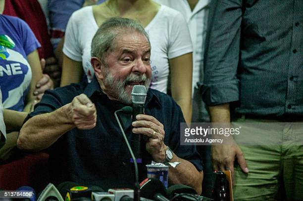 March 4: Former Brazilian President Luiz Inacio Lula da Silva speaks during a press conference after being released by the Federal Police of Brazil,...
