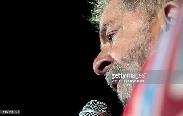 Former Brazilian President Luiz Inacio Lula da Silva speaks during a rally of unionists and members of the Workers Party in his support, in Sao...