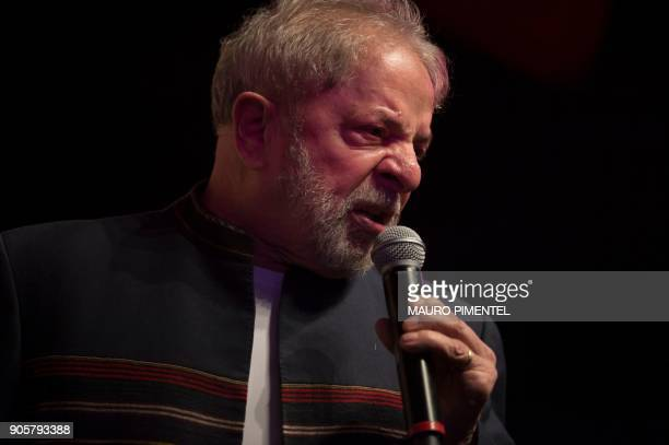 Former Brazilian president Luiz Inacio Lula da Silva speaks during a meeting with artists at Oi Casa Grande Theater in Rio de Janeiro Brazil on...