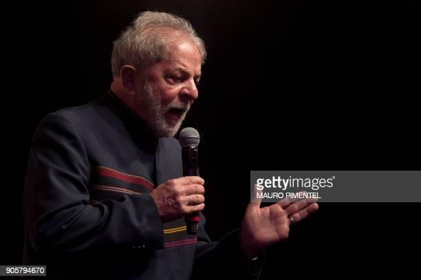 Former Brazilian president Luiz Inacio Lula da Silva speaks during a meeting with intellectuals at Oi Casa Grande Theater in Rio de Janeiro Brazil on...
